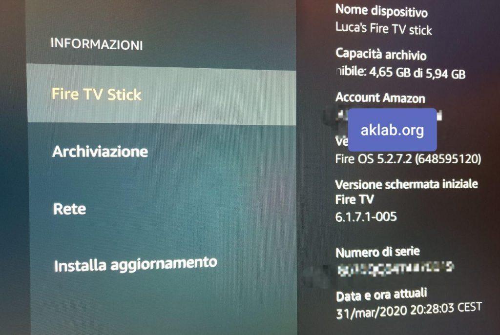 Identificare la Amazon Fire TV Stick
